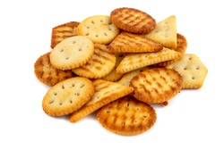 Portion of mixed crackers isolated on white background