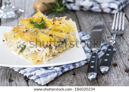 Portion of Potato Gratin on a small Plate