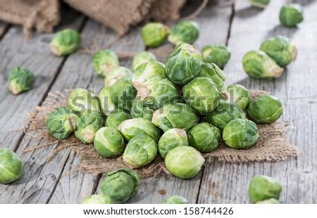 Portion of raw Brussel Sprouts