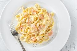 Portion of Shrimp Alfredo Pasta close-up