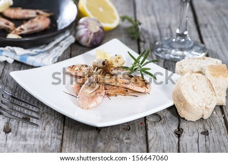 Portion of Shrimps on a small plate