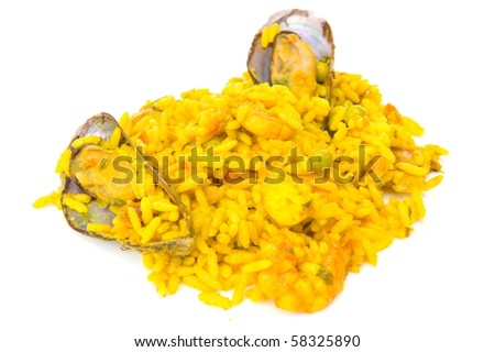 Portion of spanish sea fruit Paella on white .