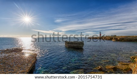 Portland Bill in Dorset, England photographed contre jour for dramatic effect.  Photo stock ©