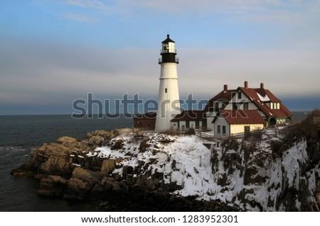 Portland Head, Cape Elizabeth, winter, Casco Bay, Gulf of Maine, Maine, USA. #1283952301
