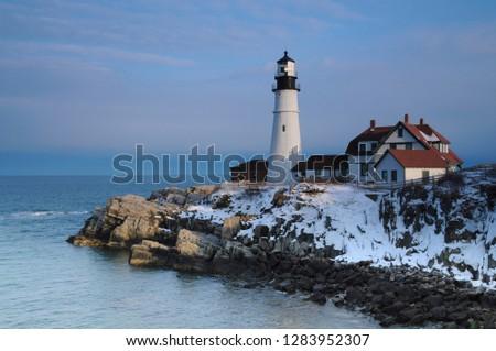Portland Head, Cape Elizabeth, winter, Casco Bay, Gulf of Maine, Maine, USA. #1283952307