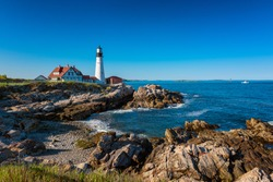 Portland Head Light Lighthouse in Cape Elizabeth, Maine, USA.