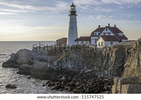 Portland Head light, lighthouse on the coast of Maine in South Portland - stock photo