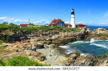 Portland Head Lighthouse Maine, USA Foto d'archivio ©