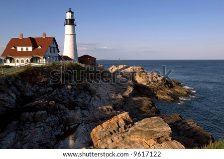 Portland Head lighthouse on USA Atlantic coast, in Portland (Maine)