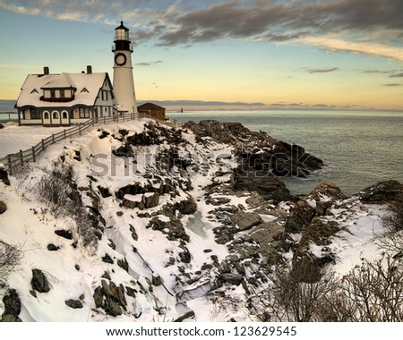 Portland Headlight at Sunset in Winter