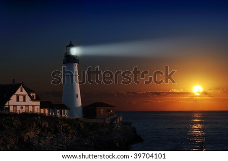 Portland headlight light house at dawn - stock photo