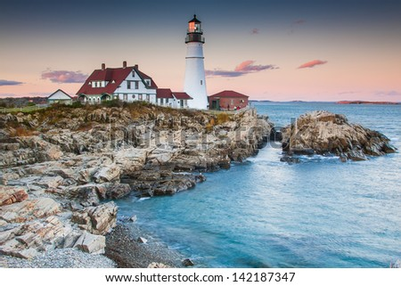 Portland lighthouse in the evening, Maine Foto d'archivio ©
