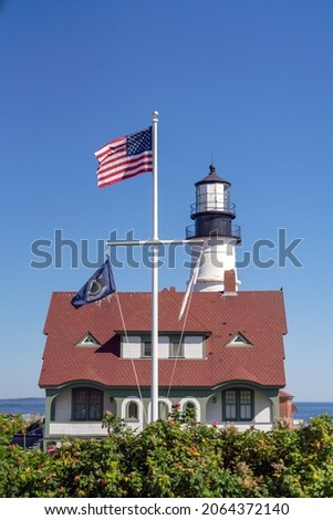 Portland Lighthouse on the island of the countryside of Maine