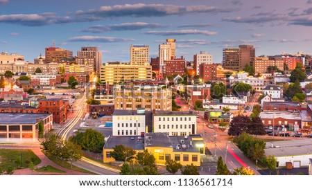 Portland, Maine, USA downtown city skyline at dusk. #1136561714