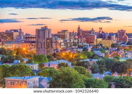 Portland, Maine, USA downtown skyline at dusk. #1042326640