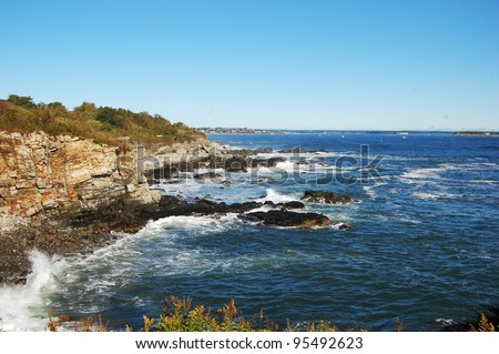 Portland, Maine. Wave at Rocky Seashore in Portland, Maine, USA