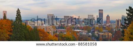 Portland Oregon City Skyline and Mount Hood in the Fall Panorama