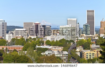 Portland Oregon downtown skyline and Mt. Hood.