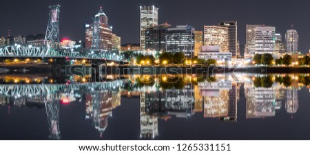 Portland, Oregon Night Skyline reflection along the Willamette River