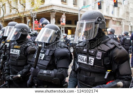 PORTLAND, OREGON - NOV 17: Police in Riot Gear in Downtown Portland, Oregon during a Occupy Portland protest on the first anniversary of Occupy Wall Street November 17, 2011