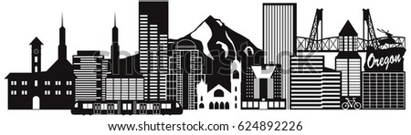 Portland Oregon Outline Silhouette with City Skyline Downtown and Transportation Panorama Black Isolated on White Background raster Illustration