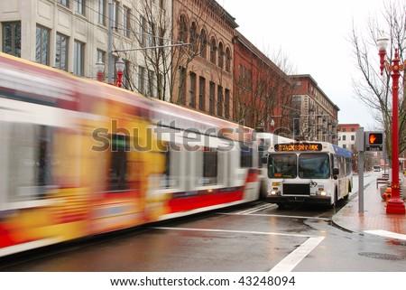 Portland Oregon public transportation in the downtown area