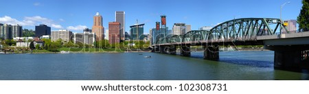 Portland Oregon skyline and bridge panorama.
