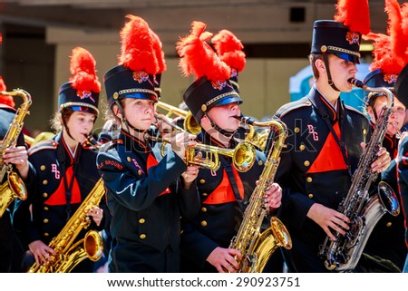 Portland, Oregon, USA - June 6, 2015: Battle Ground High School Marching Band in the Grand Floral Parade during Portland Rose Festival 2015.