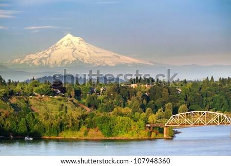Portland Steel Bridge and the Mt hood