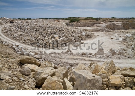 Portland stone quarry, Dorset,UK. This stone is a Jurassic limestone, often rich in fossils and is famous for its building and sculpting qualities