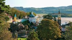 Portmeirion, an Italian style tourist village in Gwynedd, North Wales