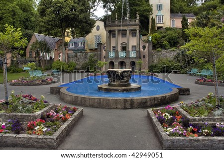 Portmeirion Village built by Clough Williams-Ellis Italian style built in wales - stock photo