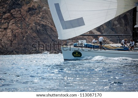 PORTO CERVO, ITALY - SEPTEMBER 12:  Sailing team compete in the  Rolex Swan Cup boat race on September 12, 2012 in Porto Cervo, Italy.