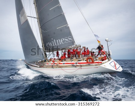 PORTO CERVO - 9 SEPTEMBER: Maxi Yacht Rolex Cup sail boat race, on September 9 2015 in Porto Cervo, Italy
