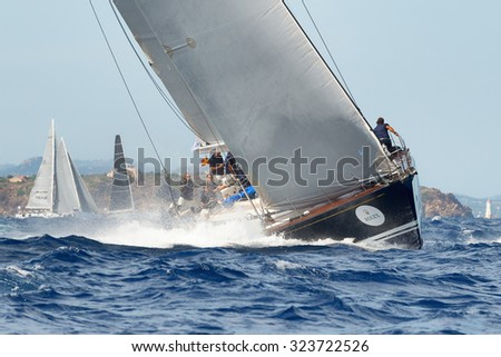 PORTO CERVO - 8 SEPTEMBER: Maxi Yacht Rolex Cup sail boat race. The event is one of international sailings most important and revered competitions. on September 8 2015 in Porto Cervo, Italy