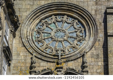 Porto Church of Saint Francis (Igreja de Sao Francisco, 1410) is a fine example of Gothic architecture in the city. Architectural fragments. Porto, Portugal.