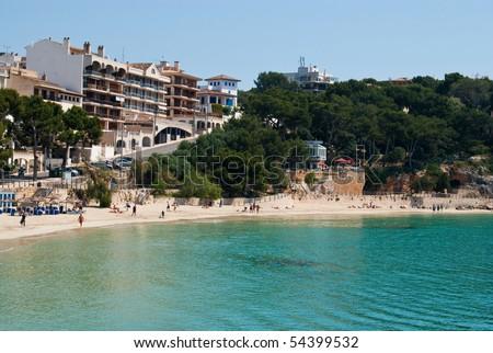 Porto Cristo street and the beach, east coast of Majorca island, Spain