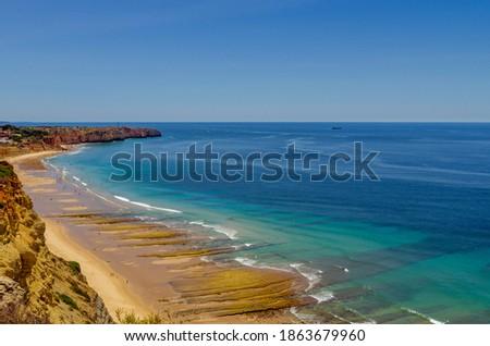 Porto de Mos Beach in Lagos, Algarve, Portugal Stock fotó ©
