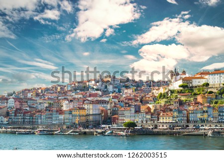 Porto in Portugal and its beautiful tourist part of Gaia and picturesque historical architecture of ancient Europe. Colorful buildings of the Portuguese city