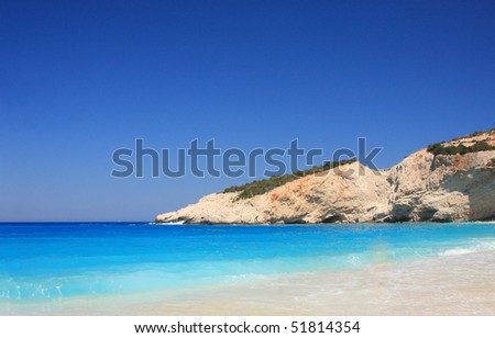 Porto Katsiki beach at Lefkada island, Greece - stock photo