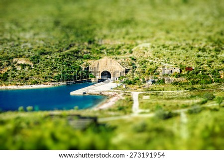 Porto Palermo tunnel in military zone, Albania.  - stock photo