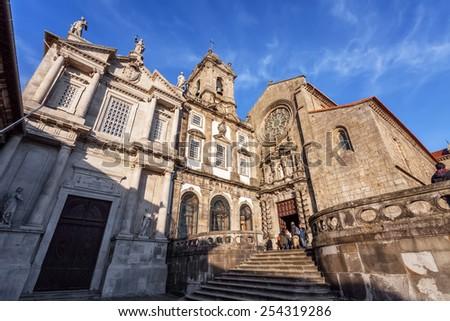 Porto, Portugal. December 29, 2014: Sao Francisco Church, right, 14th century Gothic architecture. Terceiros de Sao Francisco Church, left, in Neoclassical architecture. Unesco World Heritage Site