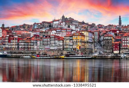 Porto, Portugal old town on the Douro River. Oporto panorama #1338495521