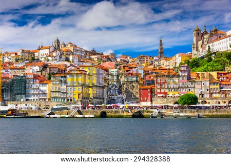 Porto, Portugal old town skyline from across the Douro River. Stock foto ©