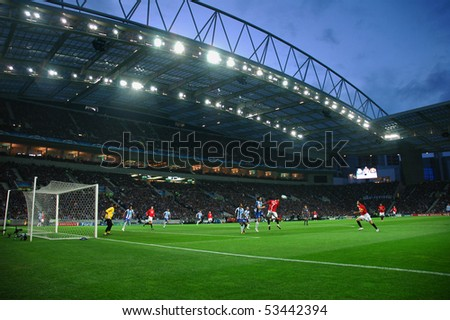 PORTO, PT - APRIL 15: Manchester United (GB) and FC Porto (PT) play for the 2009 European Soccer Football Champions League Semifinals. April 15, 2009 in Porto, Portugal. - stock photo