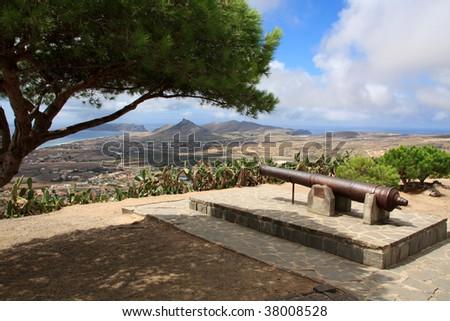 Porto Santo overview from Pico do Castelo, Madeira Islands, Portugal