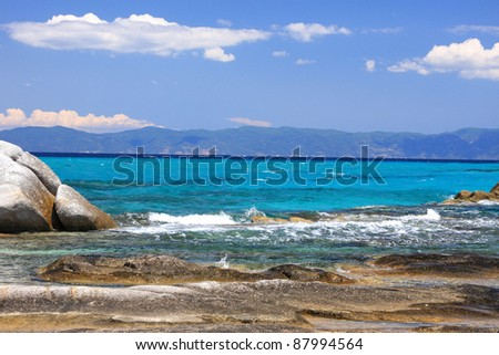 Portokali beach, Halkidiki, Greece with Athos mount on background