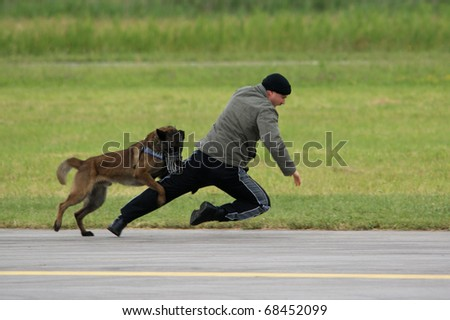 PORTOROZ, SLOVENIA - MAY 19: Police demonstrates dog training on the Portoroz airshow, Slovenia, May 19, 2010