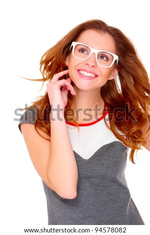Portraif of young woman wearing modern glasses on white