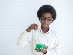 Portrait African American teenagers holding Erlenmeyer Flask on white background.